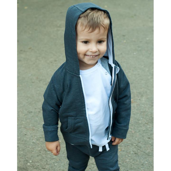 Детская толстовка с капюшоном темно-серая (белый) TLS001-3SHtsPODb