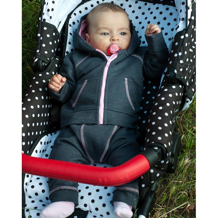 Детский спортивный костюм для девочки темно-серый с розовой подкладкой капюшона SK001-3SHtsPODr