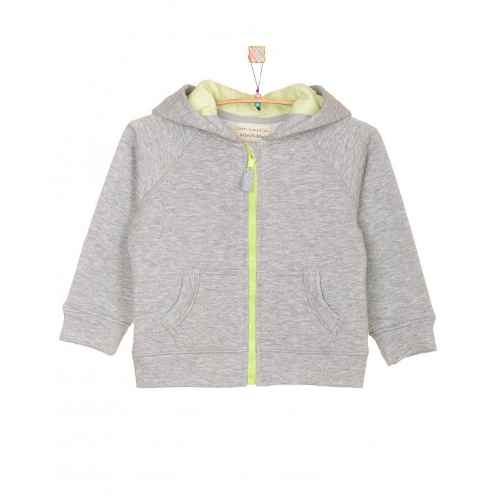 Детская толстовка свитшот: модная толстовка кофта (100% хлопок) серая с капюшоном (фисташковый) TLS001-3smPODfs