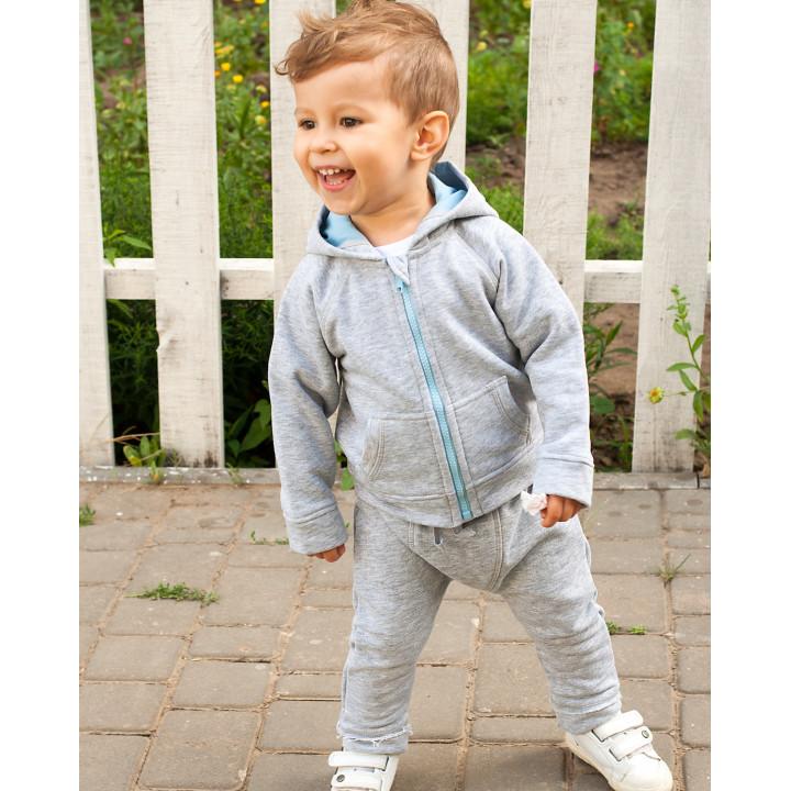Детская толстовка с капюшоном серая (голубой) TLS001-3smPODg