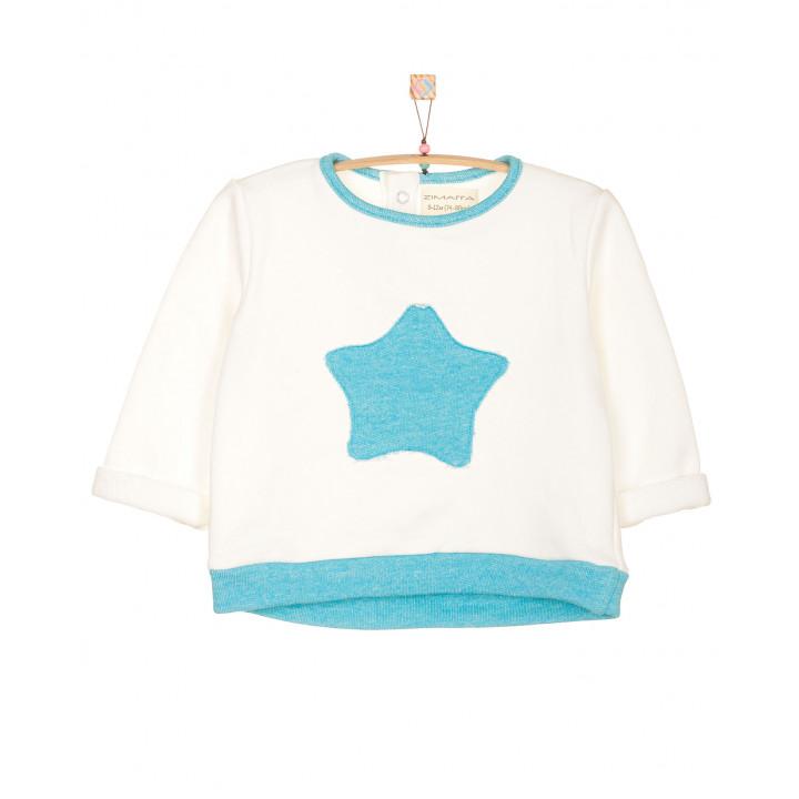 Детская толстовка|свитшот: модная качественная толстовка|кофта (100% хлопок) молочная (апликация голубая звёздочка) TLS002-3molAPg