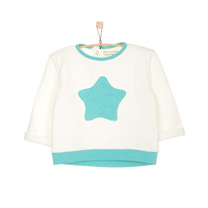 Детская толстовка|свитшот: модная толстовка|кофта (100% хлопок) молочная (апликация ментоловая звёздочка) TLS002-3molAPmen