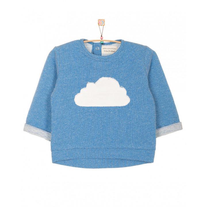 Детская толстовка|свитшот: модная качественная толстовка|кофта (100% хлопок) синяя (апликация молочная тучка) TLS002-2Tsin