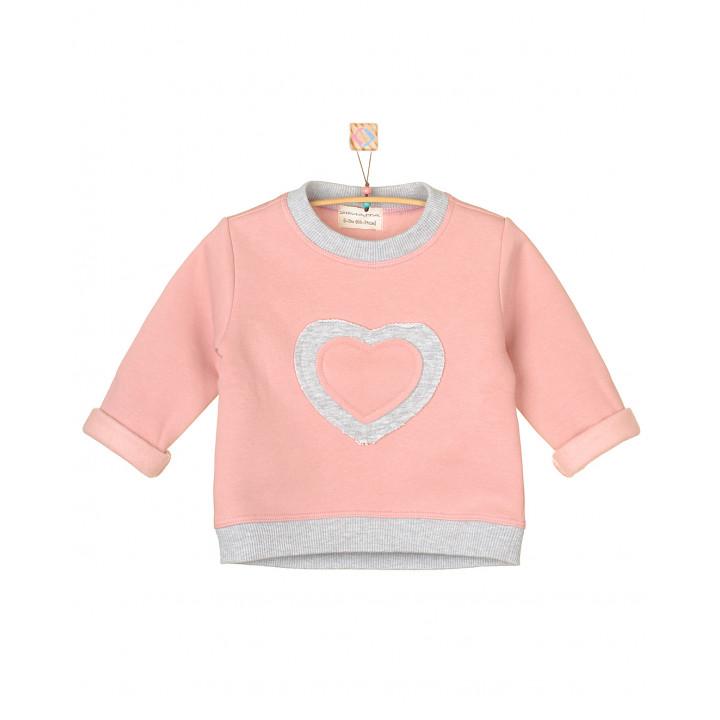 Детская толстовка с начёсом для девочки серо-розовая TLS005-3Nsr