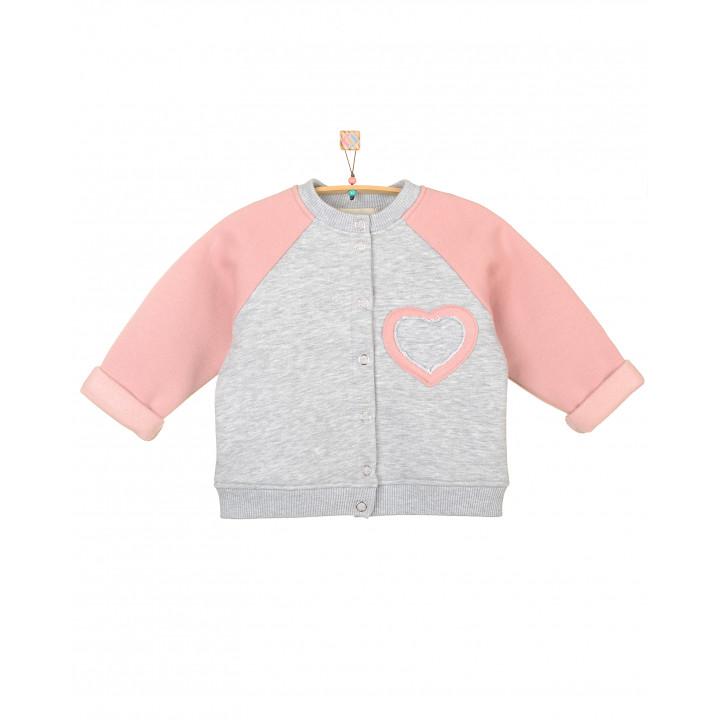 Детский бомбер на кнопках (серый меланж, серо-розовый) с начесом TLS006-3Nsm3Nsr