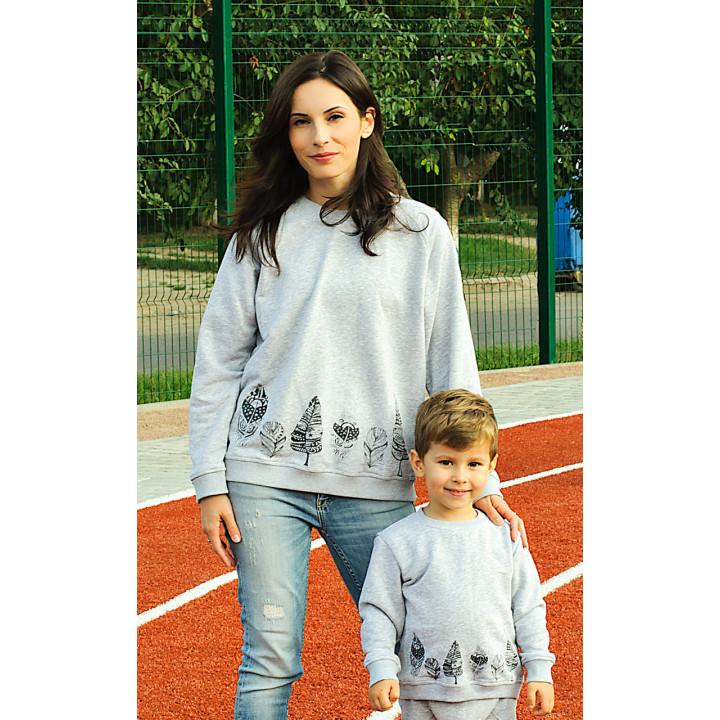 Комплект толстовок мама и малыш серый с принтом пёрышки kTLSDJ01-3sm
