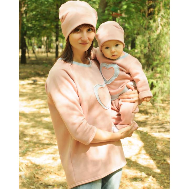 Женская толстовка с начесом серо-розовая JTLS002-3Nsr