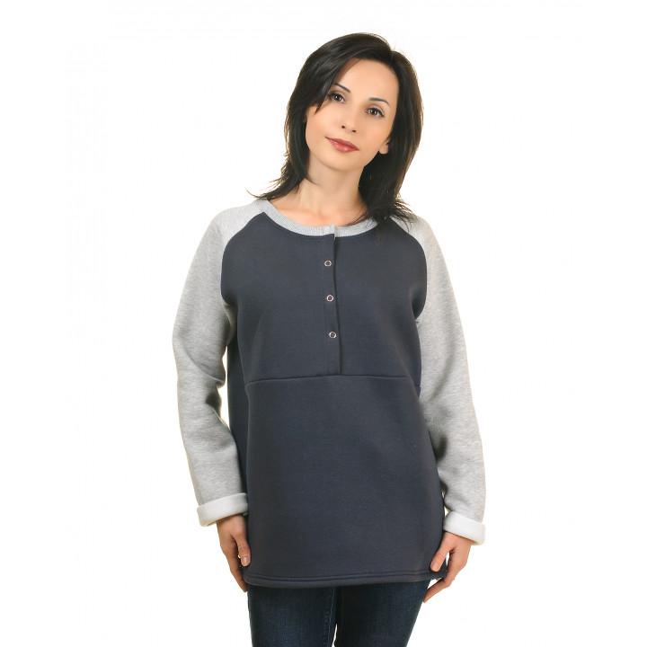 Женская толстовка на кнопках с начесом графит/серый меланж JTLS003-3Ngraf3Nsm