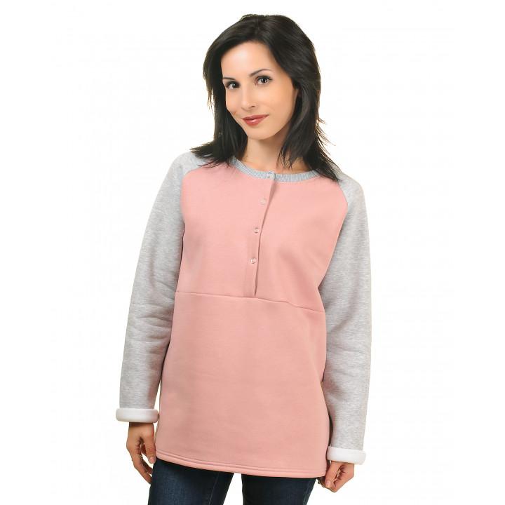 Женская толстовка на кнопках с начесом серо-розовая/серый меланж JTLS003-3Nsr3Nsm